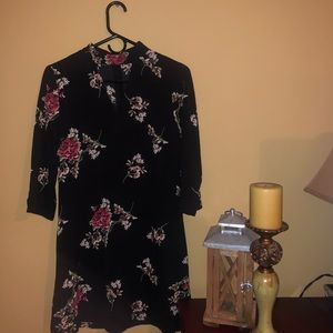 Black Dress with Floral Pattern